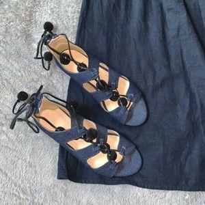J Crew Pompom Lace-Up Denim Sandals